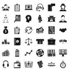 business search icons set simple style vector image