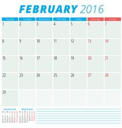 Calendar 2016 flat design template February Week vector