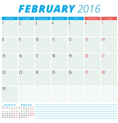 Calendar 2016 flat design template February Week vector image vector image