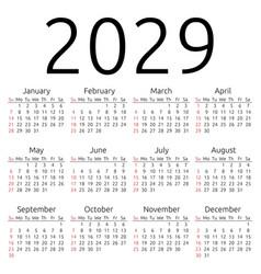 Calendar 2029 sunday vector