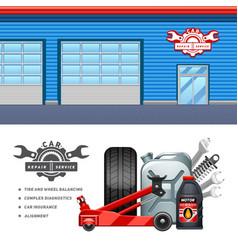 Car Service 2 Flat Banners Set vector image