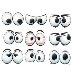 Cartoon expression eyes with different views vector