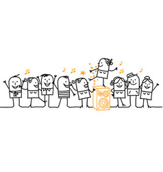 Cartoon people - happy party time vector
