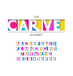 Carve font and alphabet numbers and letters vector