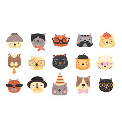cat heads cute cats muzzles with accessories vector image