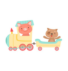 Cheerful red cheeked pig and dog driving toy vector