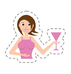 Cheerful woman party celebration vector