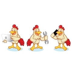 Chicken Mascot with phone vector