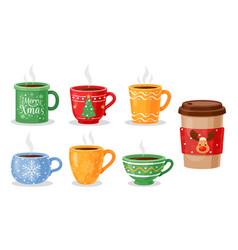 christmas tea cups coffee mug vector image