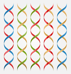 Colorful 3D double helix set vector image