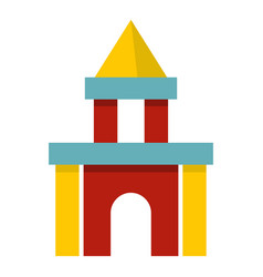 Colorful castle toy blocks icon isolated vector