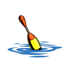 Colorful fishing float in water concept vector