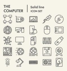 Computer line icon set device symbols collection vector