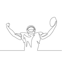 continuous one line drawing american football vector image