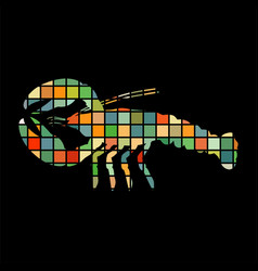 Crayfish mosaic color silhouette aquatic animal vector