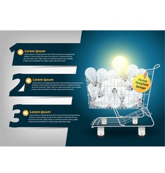 Creative Template light bulb in the shopping cart vector