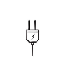 Electric plug icon with hand drawn doodle vector