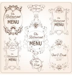 Elegant restaurant labels vector