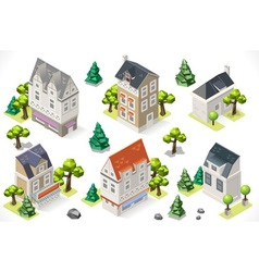 Europe Building Set Tint Cartoon Isometric 3d vector