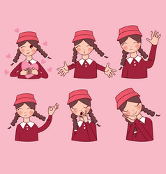 facial expressions set woman girl vector image