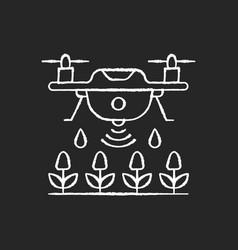 Farming drones chalk white icon on black vector