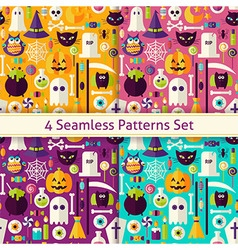 four flat seamless scary halloween patterns set vector image