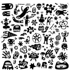 Funny microbes characters cartoon set design vector