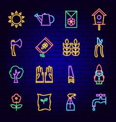 garden neon icons vector image