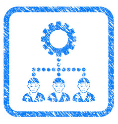 Gear hierarchy workers framed stamp vector