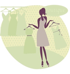 girl at a boutique vector image