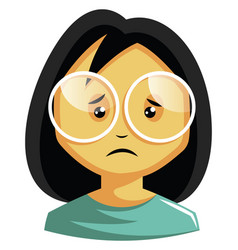girl wearing white glasses is feeling emotional vector image