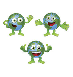 globe world cartoon character vector image