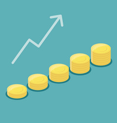 gold coin stack growth successful vector image