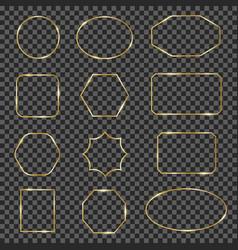 golden shiny frames gold sparkling geometric line vector image