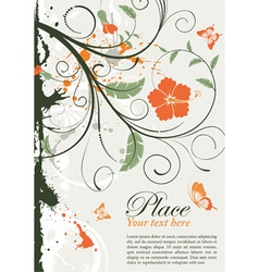 grunge decorative floral frame vector image