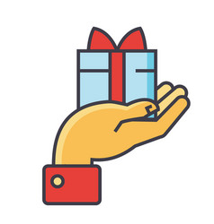 hand with gift charity concept line icon vector image
