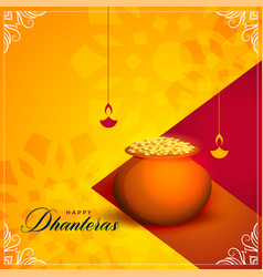 Happy dhanteras festival greeting card background vector