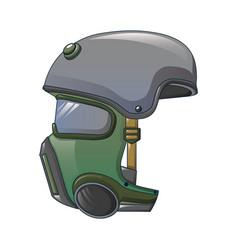 Helmet gas mask icon cartoon style vector