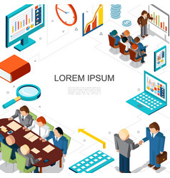 Isometric business and finance concept vector
