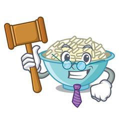 Judge rice bowl mascot cartoon vector