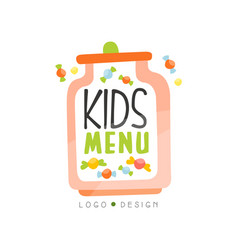 kids menu logo design healthy organic food vector image