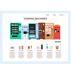 landing page website with food vending machine vector image