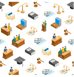law court 3d seamless pattern background isometric vector image