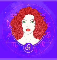 Leo zodiac sign and portrait vector