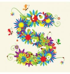 Letter S floral design vector