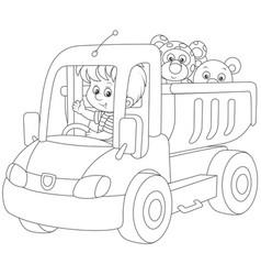 Little boy in a toy truck vector