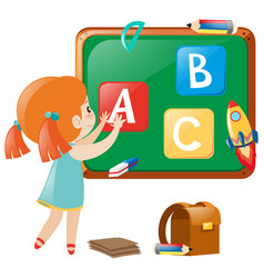 Little girl posting english alphabets on board vector