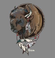logo with bison head vector image