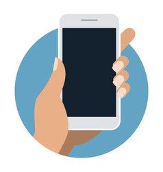 Man holding smart phone on transparent background vector