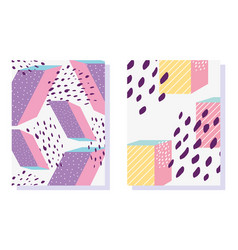 memphis geometric shapes patterns in trendy vector image